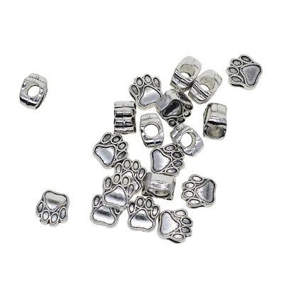 20pcs Footprint Spacer Loose Beads Large Hole Jewelry Making Findings Silver
