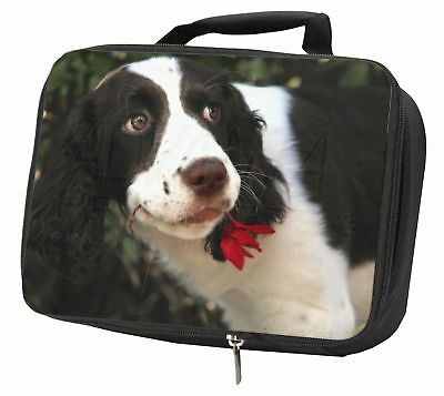 Springer Spaniel Dog and Flower Black Insulated School Lunch Box Bag, AD-SS74LBB