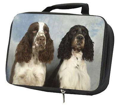 Springer Spaniel Dogs Black Insulated School Lunch Box Bag, AD-SS2LBB