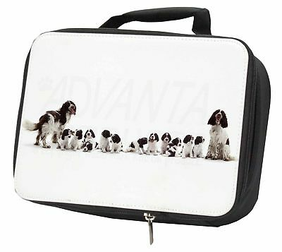 Springer Spaniel Dogs Black Insulated School Lunch Box Bag, AD-SS12LBB