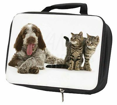 Italian Spinone Dog and Kittens Black Insulated School Lunch Box Bag, AD-SP1LBB
