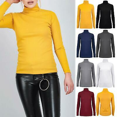 Womens Ladies High Turtle Polo Neck Crepe Stretchy Long Sleeve Ribbed Tee Top