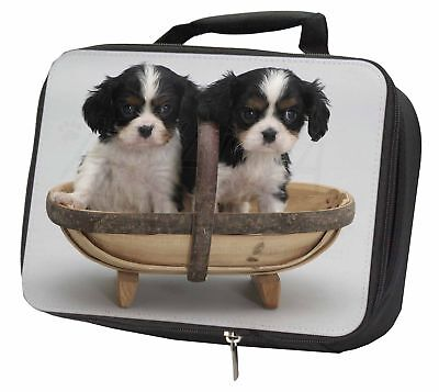 King Charles Spaniel Puppy Dogs Black Insulated School Lunch Box Bag, AD-SKC4LBB