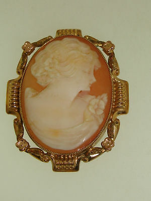 Antique Estate Art Nouveau Ornate 10K Tri-Color Gold Carved Shell Cameo Pin!