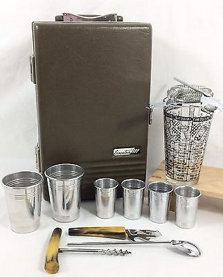 Executair 880 Travel Bar Cocktail Set w/ Federal Glass Shaker 7 recipe Ever-Wear
