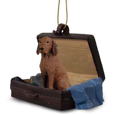 Vizsla Traveling Companion Dog Figurine In Suit Case Ornament