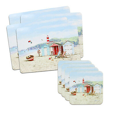 Set of 4 Sandy Bay Placemats and 4 Coasters Cork Back Table Mats Serving Dining
