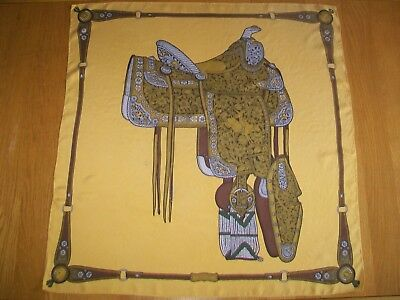 Gucci. Old 1950's / 60's Equestrian Themed Design Vintage Silk Scarf
