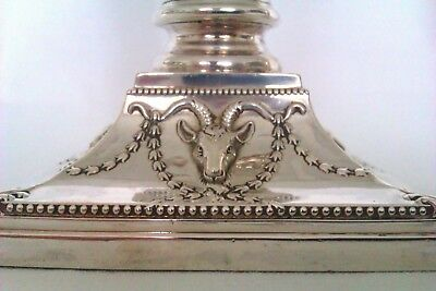 Rare Solid Silver Pair Of Rams Head Victorian Candle Sticks William Hutton 1892