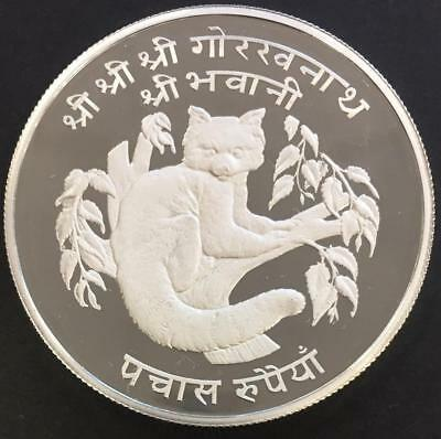 50 Rupees Proof Nepal 1974 'Red Panda WWF' Silver coin