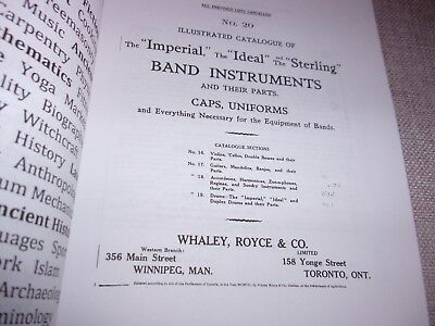c1900 WHALEY-ROYCE Musical Instrument Catalog - Brass Band - Drums - 102 pages