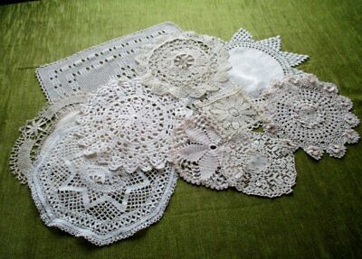 VINTAGE MATS - LACE/HAND CROCHET-CREAM-COL.of 10