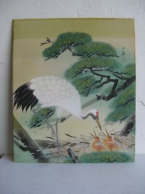 Fine Old Chinese Silk Brush Painting of Red Crowned Crane w/Nest Artist Signed!
