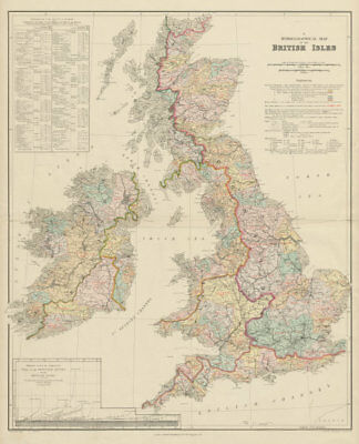 British Isles hydrographical. Watersheds River drainage basins STANFORD 1904 map