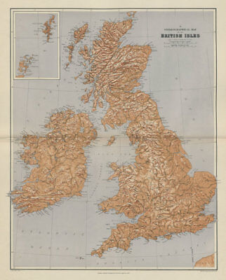 British Isles Stereographical. Mountains rivers. Large 65x52cm STANFORD 1904 map