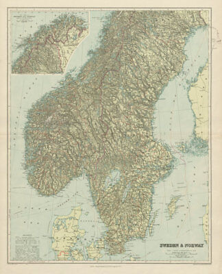 Scandinavia physical mountains fjords glaciers. Sweden Norway. STANFORD 1904 map