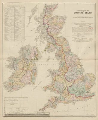British Isles hydrographical. Watersheds River drainage basins STANFORD 1894 map
