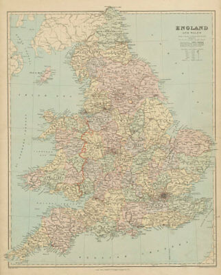 England and Wales in counties. Large 68x55cm. STANFORD 1894 old antique map