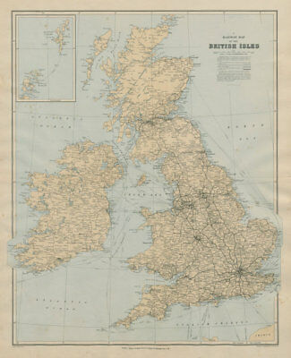 Railway map of the British Isles. England Ireland Scotland Wales. STANFORD 1894