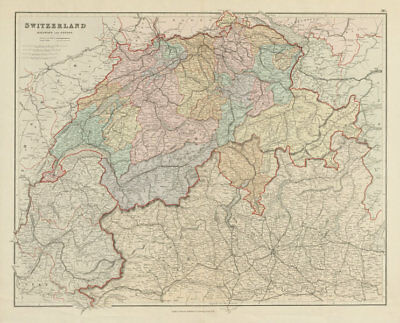 Switzerland & the Alps. Railways passes. Savoie. Italian Lakes STANFORD 1887 map