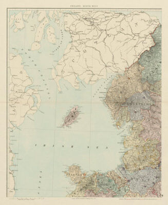 North west England & North Wales. Isle of Man. Large 62x50cm. STANFORD 1887 map