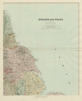 North east England. Tyneside Yorkshire Lincolnshire. 62x51cm STANFORD 1904 map