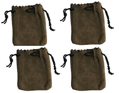 """4 Brown Genuine Suede Leather 3"""" Drawstring Pouch Bag Jewelry Coin Renaissance"""