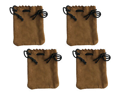 """4 Tan Genuine Suede Leather 3"""" Drawstring Pouch Bag Jewelry Coin Renaissance"""