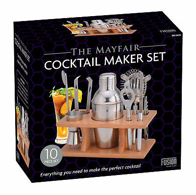 10pc Cocktail Maker Set Shaker Glass Twisted Bar Spoon Strainer Wood Muddler