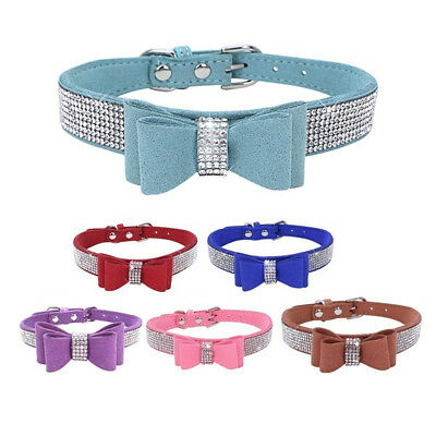 Rhinestone Pet Dog Cat Collar Faux Suede Leather Bowknot Bling Necklace Sanwood