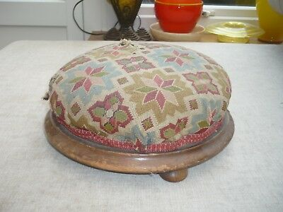 Antique quality tapestry circular footstool wooden bun feet Decorators Piece