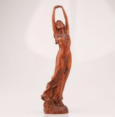 Antique Rare Big Old Boxwood Hand Carved Girl Statue Figure Home Decoration Art