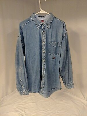a470d81007f VTG Tommy Hilfiger Jeans Button Down Spell Out Logo Denim Shirt XL WORK OR  PLAY
