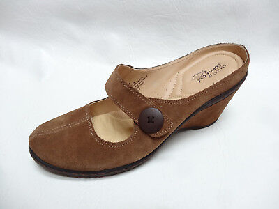 Strictly Comfort womens MARIAN Camel Suede Leather wedge slip on shoes 8 9.5 NEW