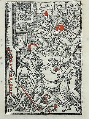 1541 REGNAULT BIBLE - Fine rubricated woodcut leaf - John the Baptist Beheaded