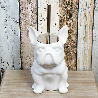Novelty Free-standing White Ceramic Bulldog Shape Toilet Brush & Holder Set