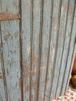 Primitive Antique Solid Wood Cabinet Door Front GORGEOUS Crackled Blue Patina