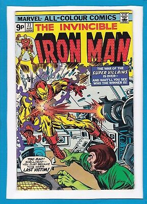 Invincible Iron Man #77_August 1975_Fine_Mad Thinker_Yellow Claw_Firebrand_Uk!
