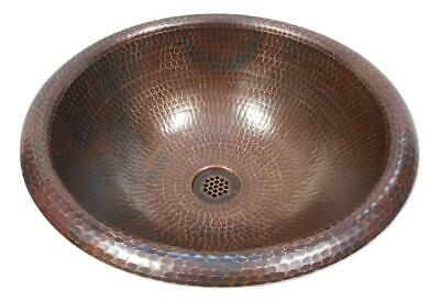 "15"" Round Copper Bath Sink Drop In Style in Brushed Sedona 19-Hole Grid Drain"