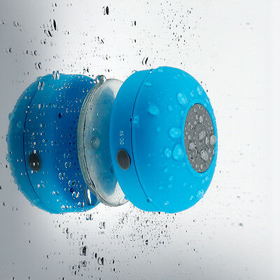 Mini Wireless Bluetooth Speaker Handsfree Mic Suction Shower Car Waterproof Blue