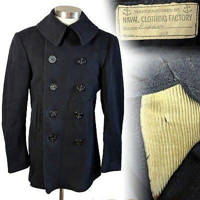 Vintage 1940s WWII 10 button Peacoat USN Coat Corduroy Pockets Kersey 38