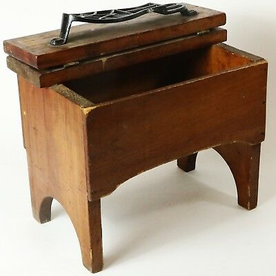 Antique Cobbler's Shoe Shine Wood Box Table Cast Iron Rest  Hinged