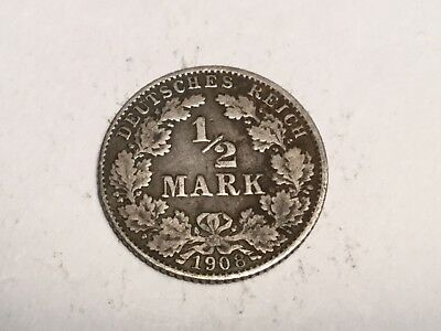 GERMANY 1908-D 1/2 mark silver coin nice condition