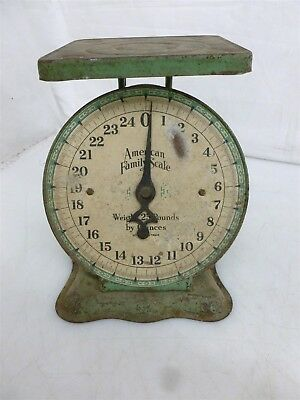 Antique Vintage Green Metal American Family Co Scale Goes Up to 25Lbs