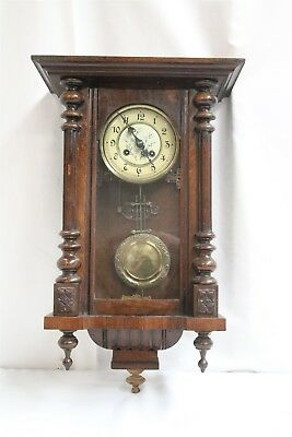 Vintage Black Forest Style Wall Clock NORA Cast Iron Backplate Pendulum