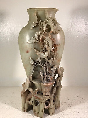 """Vintage 10"""" Hand-Carved Chinese Soap Stone Vase birds flowers lovely"""