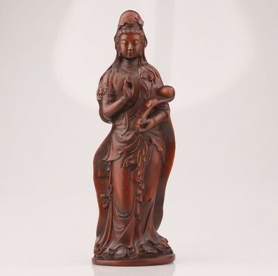 Retro Chinese Boxwood Pure Hand Carving Guanyin Statue Meditation Faith Worship