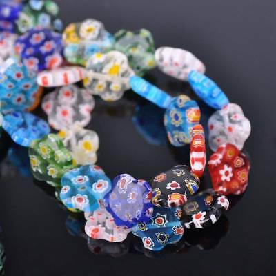 10pcs 12mm Flower Millefiori Lampwork Glass Loose Spacer Beads Random Mixed