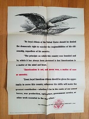 Orig WW2 1943 Poster Americanism Is Not A Matter Of Race Pres F D Roosevelt NR