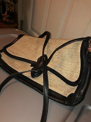 Brooks Brothers Soft Leather And Burlap Cross Body Flap Style Bag Messenger
